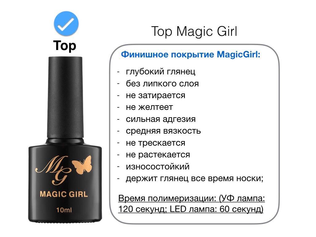 Топ глянцевый Magic Girl для гель-лака без липкого слоя, 10мл