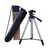 Штатив профессиональный для фотоаппарата и смартфона трипод 330А Алюминиевый 52-135 см + чехол, фото 9