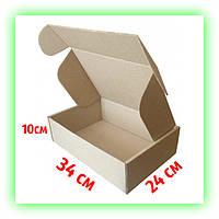 Коробка коричневая подарочная самосборная 340х240х100, картонная упаковка для подарков (10шт. в уп.)
