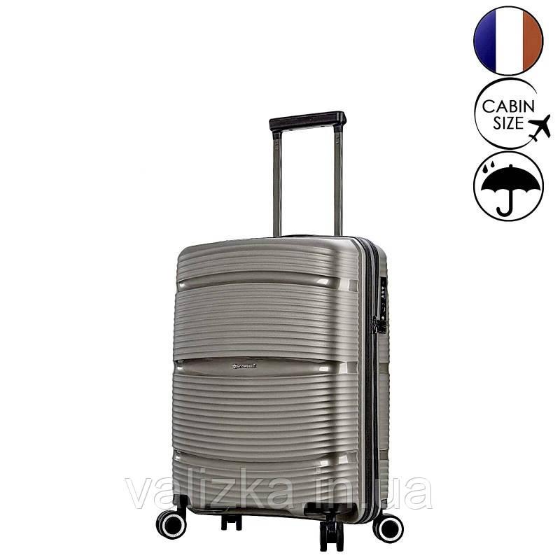 Маленький пластиковый чемодан из полипропилена серый ручная кладь Snowball Франция