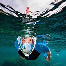 Панорамна (повна) маска для снорклінга Freebreath, white-blue S/M