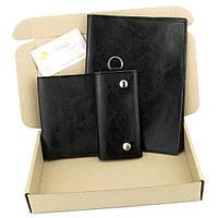 Подарочный набор №25: Обложка на ежедневник + обложка на паспорт + ключница (черный питон)