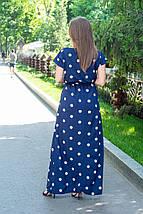 Платье женское в пол с коротким рукавом в горошек на темно-синем 48/52, фото 3