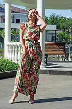 Платье женское в пол базовое с коротким рукавом цветы на горчичном 48/52, фото 2