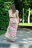 Платье женское в пол базовое с коротким рукавом цветы на горчичном 48/52, фото 4