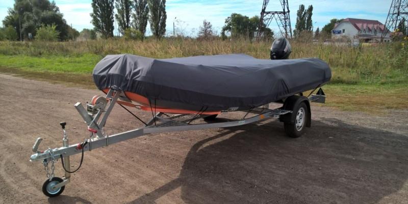 Оцинкованный одноосный прицеп для перевозки резиновых надувных (ПВХ) лодок до 3,6 м  Кияшко