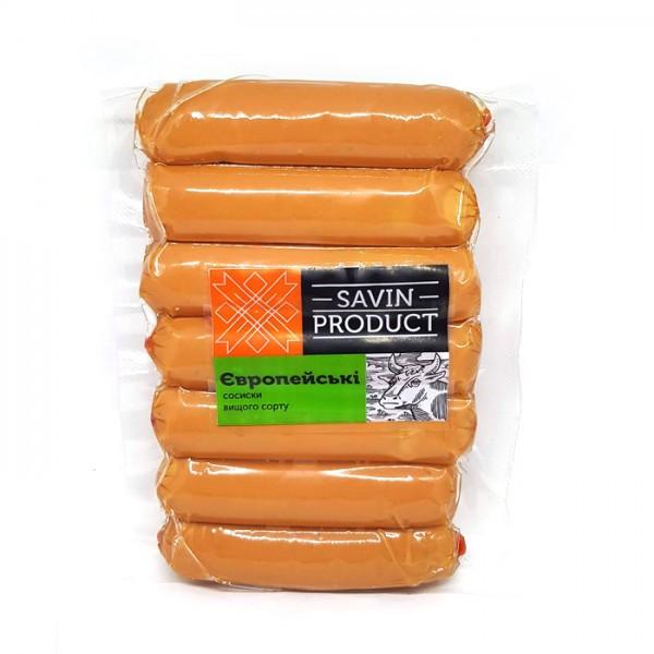 Сосиски европейские из телятины Савин продукт 1кг
