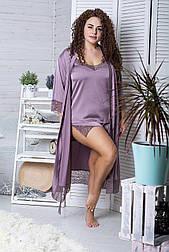 Комплект пижама кружевная + халат удлиненный XXL+ К1080п
