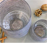 Набор 2-х подсвечников серебристое стекло h11-20см, фото 2