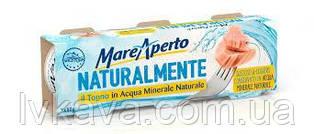 Тунец в натуральной минеральной воде Naturalmente  Mare Aperto, 3 x 80 гр