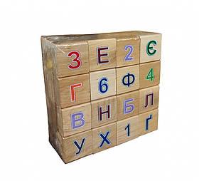 Детская Азбука Алфавит Винни Пух Деревянные Цветные Кубики Набор Букв и Цифр 48 кубиков, Укр. (11201)