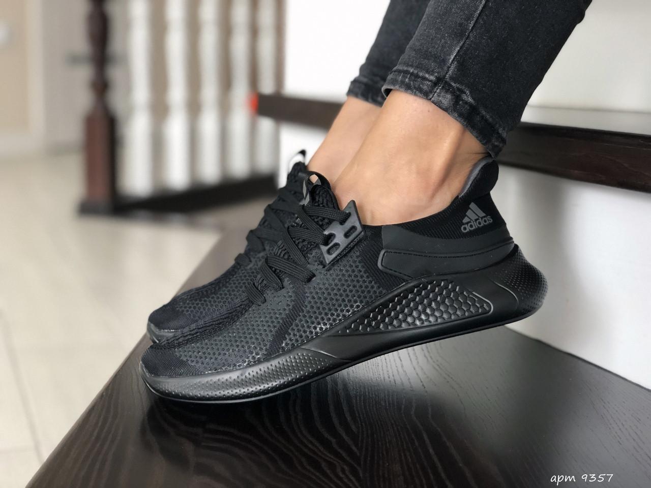 Женские летние кроссовки Adidas,черные, сетка