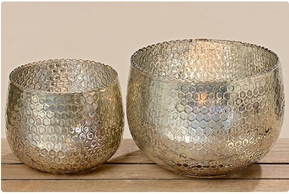 Набор 2-х подсвечников коричневое стекло h12-15см