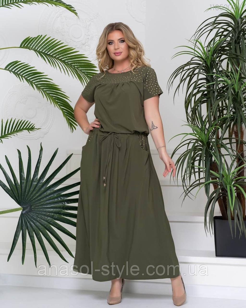Летнее длинное платье большого размера с боковыми карманами Джела хаки