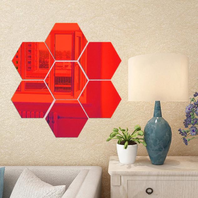 Акрилове дзеркало «Сота» 1 шт 265×230×132 мм ×1 мм червоне