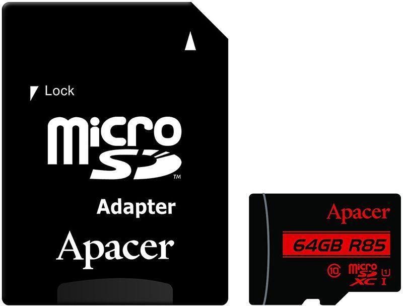 Карта памяти Apacer microSDHCSDXC class 10 UHS-1 SD adapter 64Gb (65455)