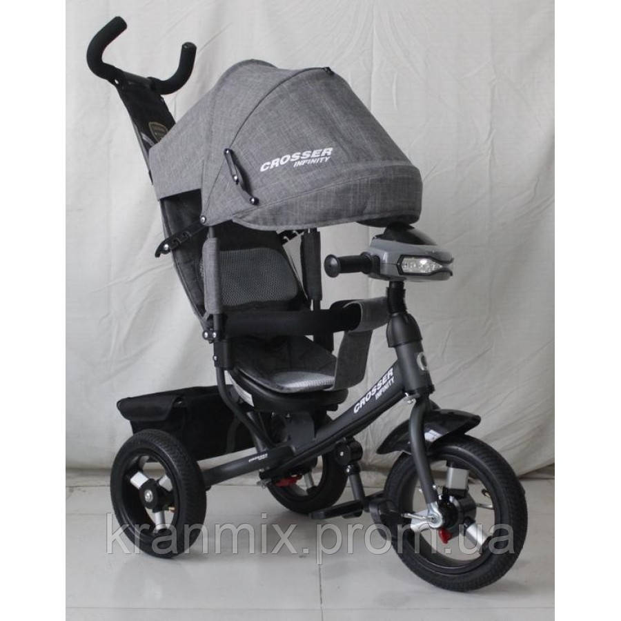Детский трехколесный велосипед Azimut Crosser T-1 ЕСО Air — трешка СЕРЫЙ