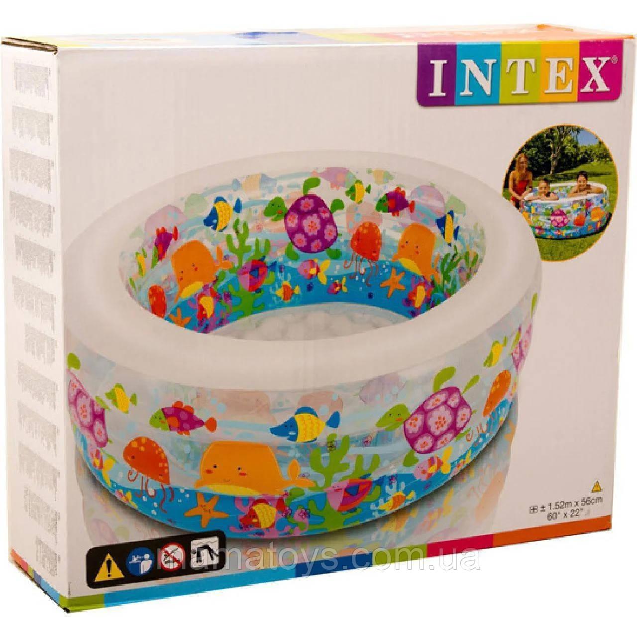 Детский надувной Бассейн 58480 Intex Аквариум Надувное дно Размер 152 - 56 см