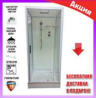 Квадратный гидромассажный бокс с мелким поддоном 90*90 см Veronis BN-1-04 стекло прозрачное