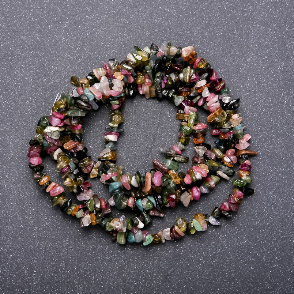 Бусины из натурального камня Турмалин арбузный d-5мм L-38см