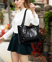 Классическая Большая Женская повседневная сумка шоппер черная экокожа на молнии Nell
