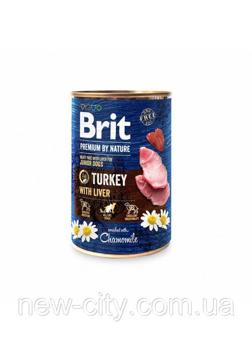 Brit Premium by Nature Turkey with Liver Мясной паштет с печенью для собак 400г