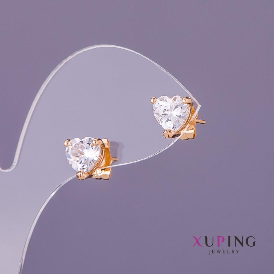 Серьги Xuping гвоздики Сердечки d-8мм L-8мм цвет золото