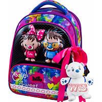 Рюкзак ранец школьный каркасный с мешком для сменной обуви пеналом и мягкой игрушкой DeLune 9-124