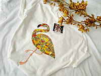 Качественная, стильная женская футболка, фламинго паетки. Размер L