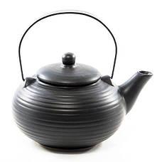 Заварочный чайник керамический 0,75 л черный матовый TP-9350.750, фото 2
