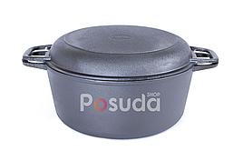 Чугунная кастрюля Биол с крышкой-сковородой 5 л 08051