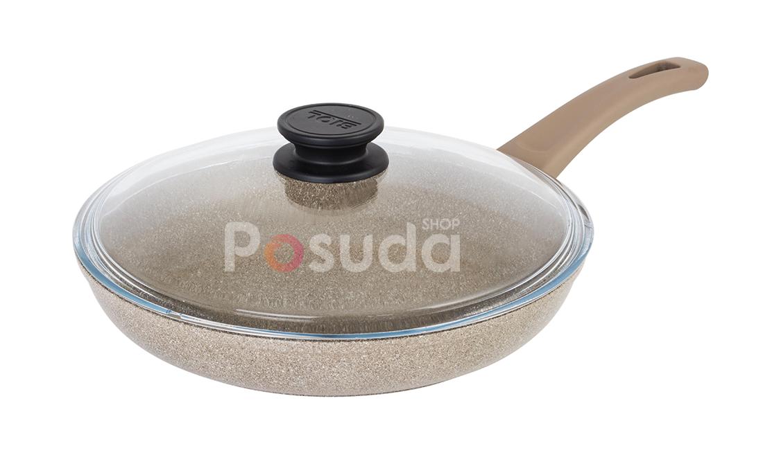 Сковорода Биол Отима-Декор антипригарная с стеклянной крышкой 22 см 22047ПС