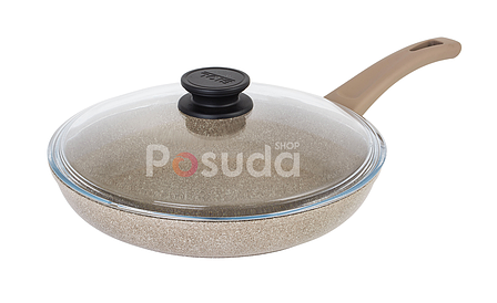 Сковорода Биол Отима-Декор антипригарная с стеклянной крышкой 22 см 22047ПС, фото 2