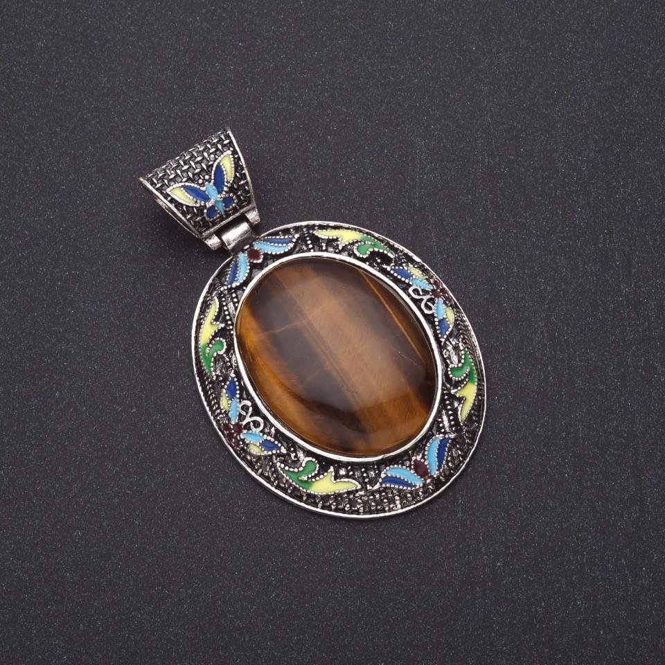 """Кулон """"под старину"""" Тигровый глаз цветная эмаль L-8см d-5,5х5см серебристый металл"""