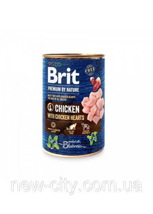 Brit Premium by Nature Chicken with Hearts Мясной паштет с куриными сердечками собак 400г