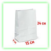 Бумажный белый пакет с дном фасовочный для еды на вынос 150х90х240. Белый крафт-пакет (50шт/уп.)