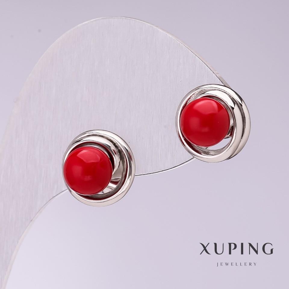 Серьги Xuping с красным жемчугом Майорка 10мм родий