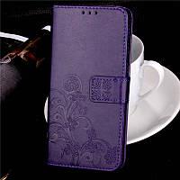 Чехол для xiaomi redmi note 8 pro книжка с искусственной кожи и тиснением (фиолетовый)
