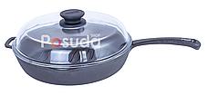 Сковорода гриль чугунная круглая 24 см Биол со стеклянной крышкой 1124с, фото 2