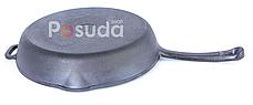 Сковорода гриль чугунная круглая 24 см Биол со стеклянной крышкой 1124с, фото 3