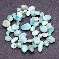 """Намистини з натурального каменю Амазоніт галтовка """"метелик"""" клас """"Б"""" d-6-12мм(+-) нитка L-41см"""