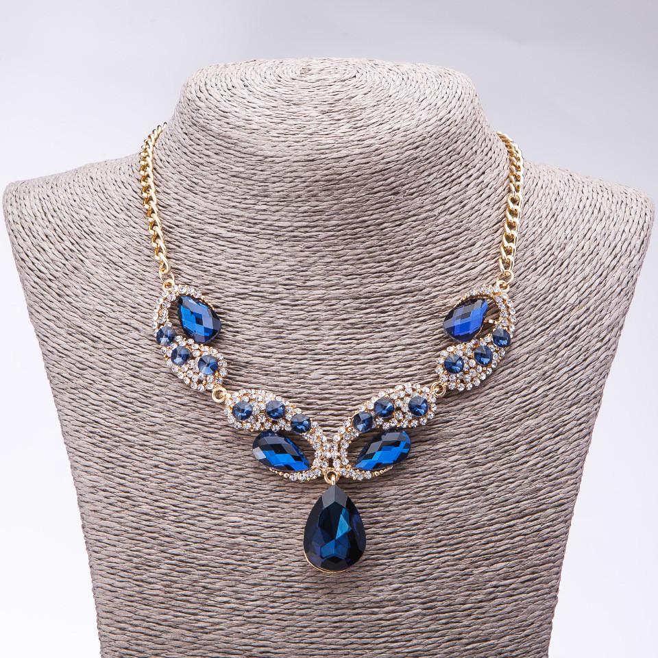 """Колье вечернее с синими кристаллами """" Драгоценные капли"""" L-42-49см"""