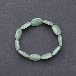 Браслет нат. камінь Нефрит на резинці овал d-10*18мм