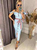 Платье, ткань: Джинс - коттон, р-р 42-44, 46-48, 50-52, 54-56, цвет: ( СИНИЙ, ГОЛУБОЙ )