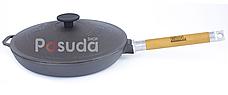 Сковорода чугунная со съемной ручкой и чугунной крышкой Биол 22 см 01222, фото 2