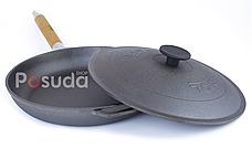 Сковорода чугунная со съемной ручкой и чугунной крышкой Биол 22 см 01222, фото 3