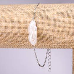 Браслет з бароковим перлами на ланцюжку d-18х10+-мм L-18-23см