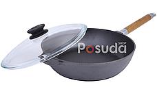 Сковорода чугунная с крышкой Биол высокая со съемной ручкой 0324с, фото 3