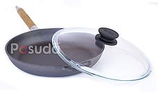 Сковорода чугунная Биол Оптима со стеклянной крышкой 24 см 0124с, фото 3