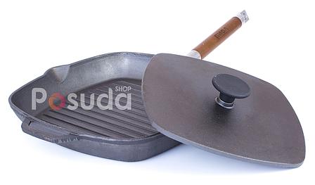 Сковорода гриль чугунная с крышкой прессом Биол 28 см 10281, фото 2